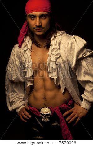 Sexy guy dressed as pirate