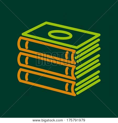 Foreign books icon. Outline illustration of foreign books vector icon for web