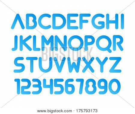 Font. Modern rounded typeface. Letetrs and numbers isolated.