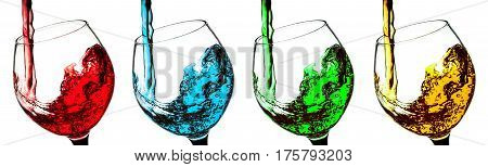 drink a glass of wine a different set of cocktail isolated