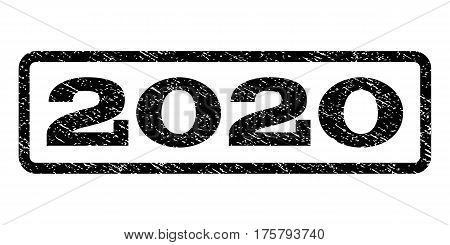 2020 watermark stamp. Text tag inside rounded rectangle with grunge design style. Rubber seal stamp with scratched texture. Vector black ink imprint on a white background.