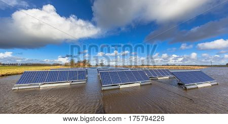 Floating Solar Units On Water Panorama