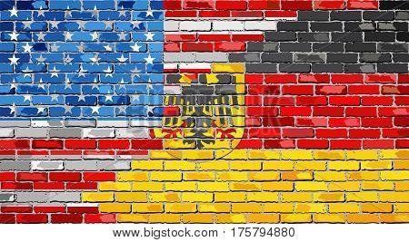 Brick Wall USA and Germany flags - Illustration