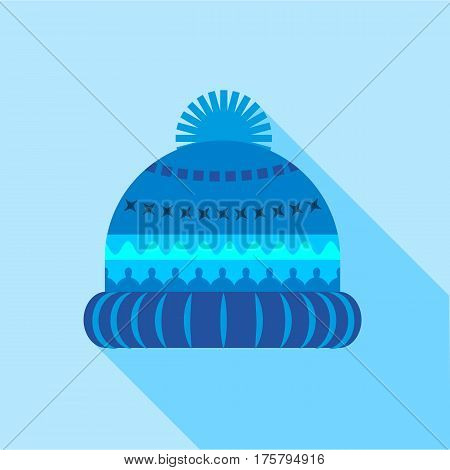 Woolen hat icon. Flat illustration of woolen hat vector icon for web