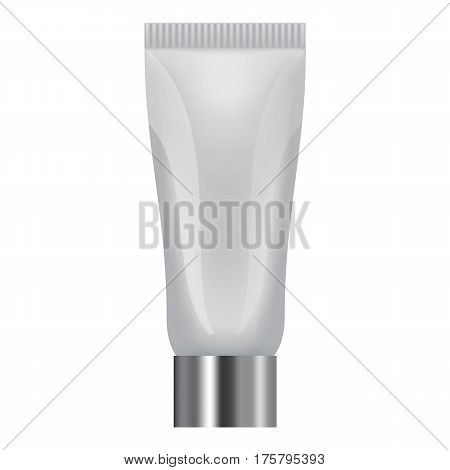 Sun creme tube icon. Realistic illustration of sun creme tube vector icon for web