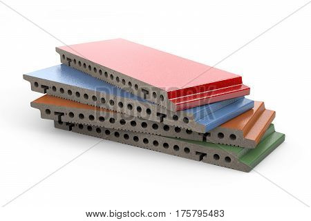3d rendering of terracotta glazed panels for ventilated facade cladding isolated on white background