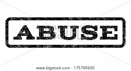 Abuse watermark stamp. Text tag inside rounded rectangle frame with grunge design style. Rubber seal stamp with scratched texture. Vector black ink imprint on a white background.