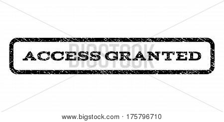 Access Granted watermark stamp. Text tag inside rounded rectangle with grunge design style. Rubber seal stamp with dirty texture. Vector black ink imprint on a white background.