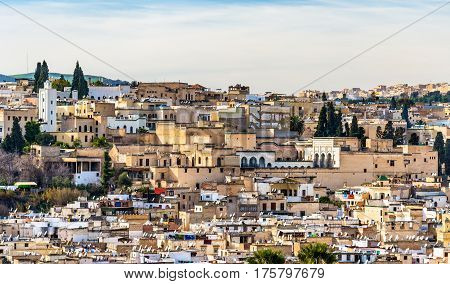 Panorama of Old Medina in Fes. Morocco, North Africa