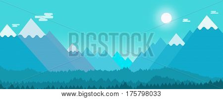 cool moonlight winter landscape illustration with hills, mountains, valley, clouds, pine trees, snow and horizon.