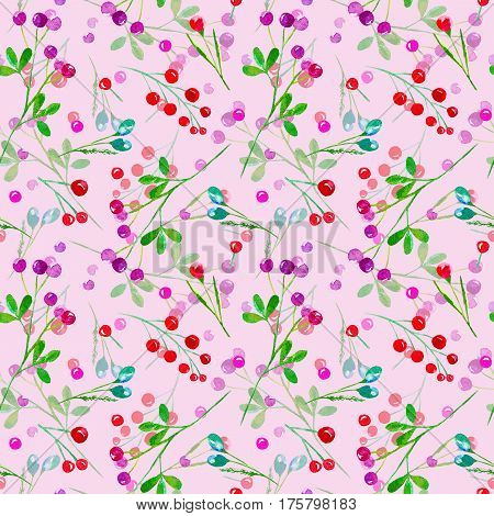 Floral seamless pattern of a berry. Cranberry, bilberry, cowberry. Watercolor hand drawn illustration.Pink background.
