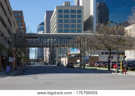 MINNEAPOLIS USA - APRIL 11 2012: MINNEAPOLIS USA - APRIL 11 2012: Skyway climate-controlled comfort pedestrian footbridge connect various buildings