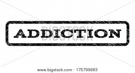 Addiction watermark stamp. Text tag inside rounded rectangle with grunge design style. Rubber seal stamp with unclean texture. Vector black ink imprint on a white background.