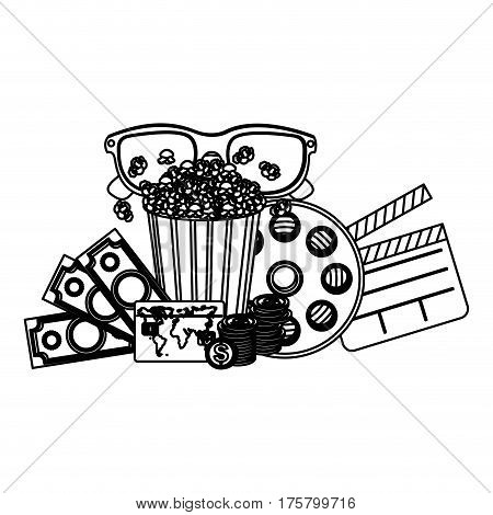 pop corn, 3d glasses, clapper board and money, vector illustraction