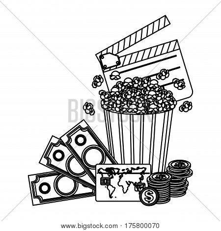 clipper board, pop corn and money icon, vector illustraction design