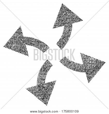 Centrifugal Arrows vector textured icon for overlay watermark stamps. Black jeans fabric vectorized texture. Symbol with dirty design. Black ink rubber seal stamp with fiber textile structure.