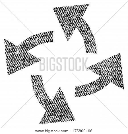 Centrifugal Arrows vector textured icon for overlay watermark stamps. Black jeans fabric vectorized texture. Symbol with unclean design. Black ink rubber seal stamp with fiber textile structure.