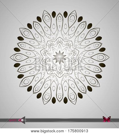 Vector Round Symmetrical Pattern. Abstract Geometric Figure. On A White Background. Floral Structure