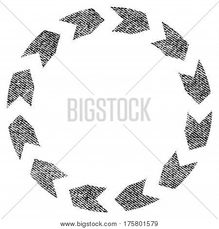 Circulation vector textured icon for overlay watermark stamps. Black jeans fabric vectorized texture. Symbol with dirty design. Black ink rubber seal stamp with fiber textile structure.