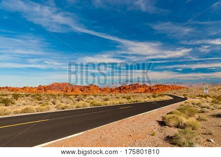 Road into stone desert. Valley of Fire State Park Nevada USA.