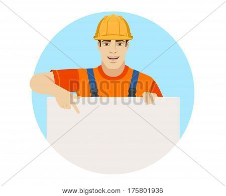 Builder pointing at banner over white. Portrait of builder in a flat style. Vector illustration.