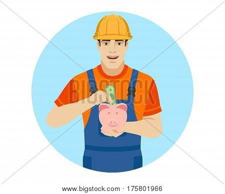 Builder puts banknote in a piggy bank. Portrait of builder in a flat style. Vector illustration.