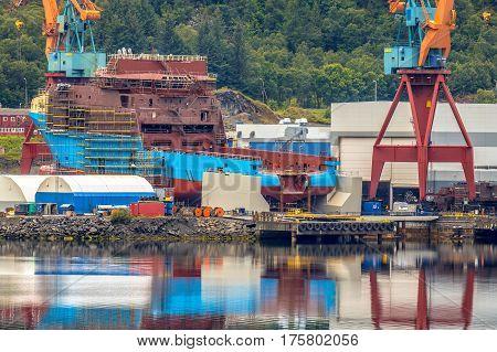 Modern Vessel Being Built At Shipyard