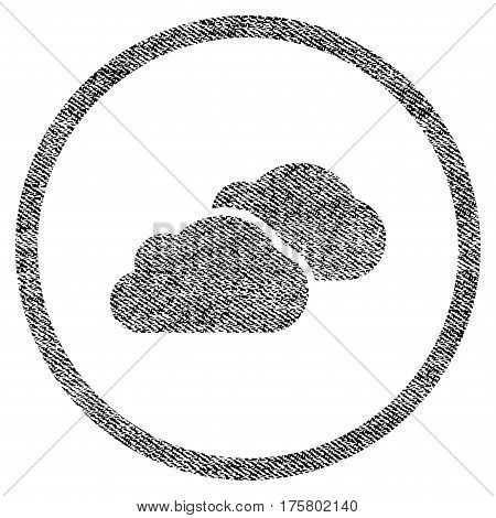 Clouds vector textured icon for overlay watermark stamps. Black jeans fabric vectorized texture. Symbol with unclean design. Black ink rubber seal stamp with fiber textile structure.