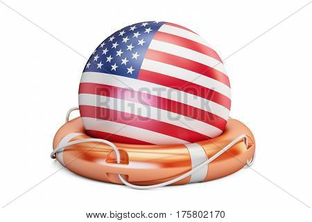 Lifebelt with USA flag safe help and protect concept. 3D rendering