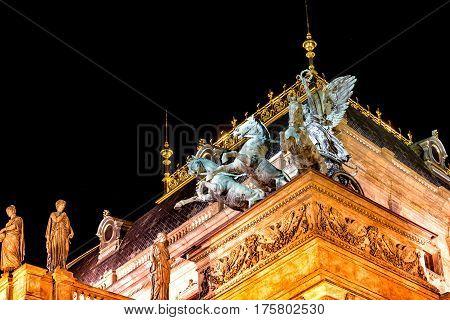 Roof decorations of National Theatre. Prague Czech Republic.