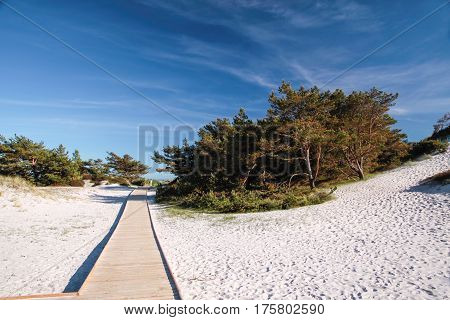 Jetty And White Sandy Beach On Bornholm