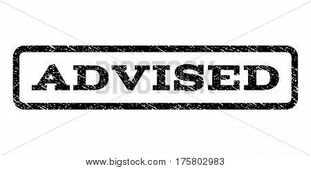 Advised watermark stamp. Text caption inside rounded rectangle frame with grunge design style. Rubber seal stamp with scratched texture. Vector black ink imprint on a white background.