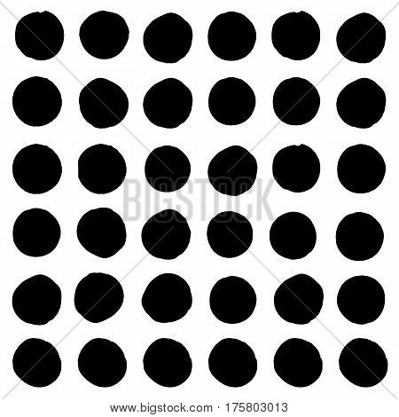 Set of various hand drawn grunge circle stains for background. Round hand drawn frames or brush strokes with rough uneven edges. Collection of graphic elements.