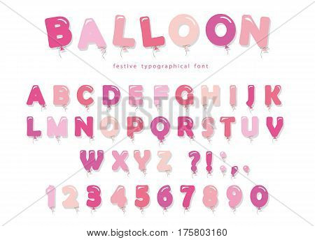 Balloon pink font. Cute ABC letters and numbers. For birthday baby shower. Girly. Vector EPS10.