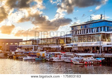 CYPRUS LIMASSOL - DECEMBER 29 2016: Limassol Old Port at sunset.