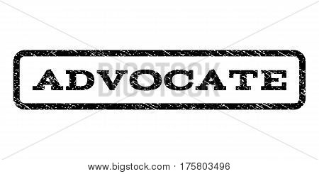 Advocate watermark stamp. Text tag inside rounded rectangle with grunge design style. Rubber seal stamp with unclean texture. Vector black ink imprint on a white background.