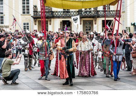 PRAGUE CZECH REPUBLIC - SEPTEMBER 04 2016: Celebration of the 700th anniversary of King Charles IV's coronation.