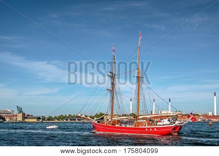 Big red old sailing ship in Amaliehaven in Copenhagen Denmark