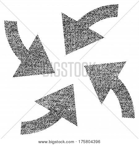 Cyclone Arrows vector textured icon for overlay watermark stamps. Black jeans fabric vectorized texture. Symbol with unclean design. Black ink rubber seal stamp with fiber textile structure.