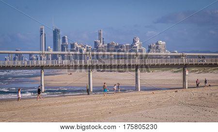 Surfers Paradise, Queensland, Australia on August 16, 2016: Skyline from beach