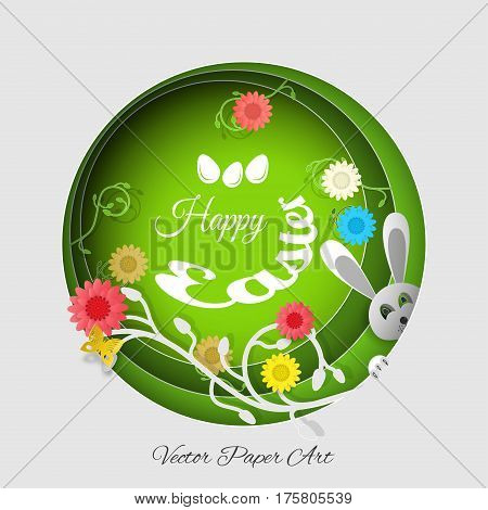 Vector multilayer paper art carve for Easter with peeping rabbit gray head eggs flowers butterflies shadows and text on the gradient gray and green background.