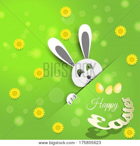 Vector poster of Happy Easter on the gradient green background with rabbit flowers eggs radiance and text cut from paper.