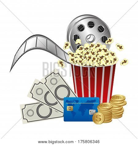 pop corn, film production and clipart money, vector illustraction