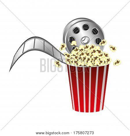 pop corn with film production icon, vector illustraction design