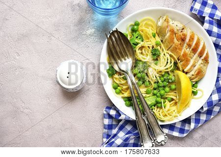 Spaghetti Primavera With Grilled Chicken.top View With Space For Text.