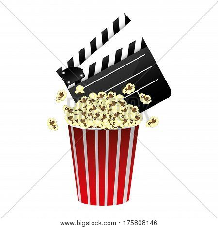 color clapper board and pop corn icon, vector illustraction design