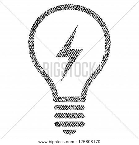 Electric Bulb vector textured icon for overlay watermark stamps. Black jeans fabric vectorized texture. Symbol with dust design. Black ink rubber seal stamp with fiber textile structure.