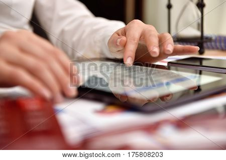 Woman Hand Analyzing Income Data