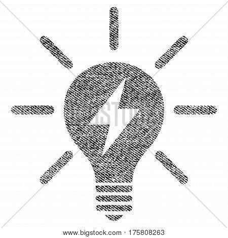 Electric Light Bulb vector textured icon for overlay watermark stamps. Black jeans fabric vectorized texture. Symbol with dirty design. Black ink rubber seal stamp with fiber textile structure.