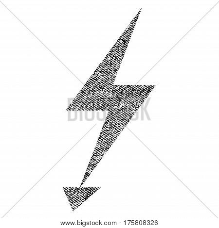 Electric Strike vector textured icon for overlay watermark stamps. Black jeans fabric vectorized texture. Symbol with scratched design. Black ink rubber seal stamp with fiber textile structure.
